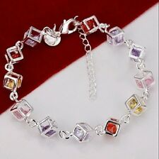 925 Sterling Silver Square Shaped Coloured Stone Bracelet