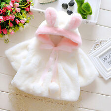 @Baby Kid Infant Girls Fur Hooded Winter Warm Coat Cloak Jacket Thick Clothes 80
