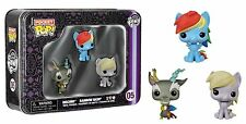 "POCKET POP TIN MY LITTLE PONY 1.5"" VINYL FIGURE SET RAINBOW DASH, DERPY, DISCORD"