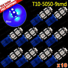 10Pcs Ultra Blue T10 Wedge 5050 9SMD Interior Map Dome LED Light Bulbs 194 168