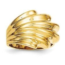 14K Gold Polished Dome Ring Fan Style Stacked Drape Cigar Band Ring