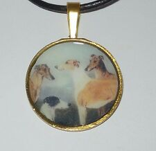 Altered Art Four Greyhound Dogs Pendant Necklace Gold Plated Rnd Setting