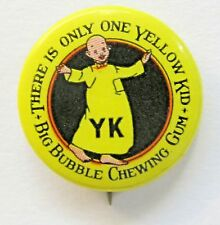c.1915 YELLOW KID BIG BUBBLE CHEWING GUM comic strip celluloid pinback button