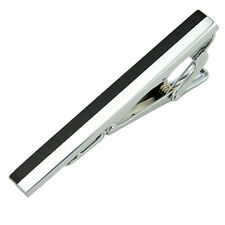 New Pure Men Silver Black & White STAINLESS STEEL Wedding Tie Clip Pin Bar Party