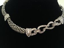 MARCEL BOUCHER SIGNED VINTAGE NECKLACE CHOKER 7281 Pave Rhinestone Arched Segmen