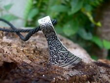 Large Norse Viking Axe necklace with Nordic Rune + Gift Box- Thor Hammer Mjolnir