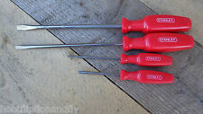 4 x STANLEY FLAT BLADE & CROSS POINT SCREWDRIVERS VINTAGE NOS PARALLEL FLARED