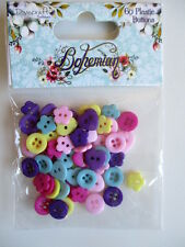 Dovecraft Bohemian 60 Plastic Buttons - flower heart pink red purple yellow mini