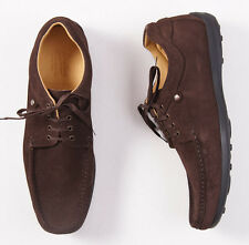 New $445 PARABOOT Laceup Brown Calf Suede Shoes 11 D Mocassin-Stitched