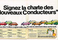 PUBLICITE ADVERTISING  1973   SHELL    la charte des nouveaux conducteurs ( 2 pa