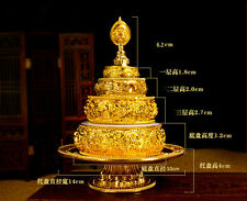 TIBETAN BUDDHA BUDDHISM ALTAR MUST! BLESSED GOLD GILT MANDALA SET FOR OFFERING