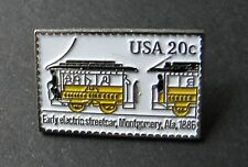 EARLY ELECTRIC STREET CAR TROLLEY BUS USPS POST OFFICE MAIL STAMP 20c LAPEL PIN