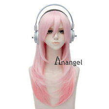 Super Sonico Cosplay Wig Long Pink Costume Straight for Party Full Wigs