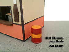 OIL DRUM ACCESSORY SET OF 2 FOR 1:24 SCALE MODELS BY AMERICAN DIORAMA 23985