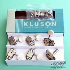 MECANIQUES KLUSON Deluxe 3R+3L WHITE Button Gibson VINTAGE JUNIOR NICKEL Tuners