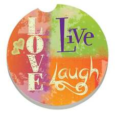 "BRAND NEW ""LOVE, LIVE, LAUGH"" STYLE ABSORBASTONE CAR COASTER for the cup holder"