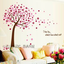 Home Decor Vinyl Wall Sticker Art Decal Pink Cherry Blossom Tree & Petals Quote