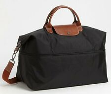 NIP $255 Longchamp Expandable Le Pliage Travel Bag Duffel Tote! Black