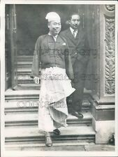 1942 Smiling Burma Premier U Saw With Adviser Tin Tut Press Photo