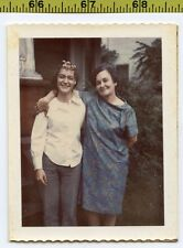 Vintage 1960's POLAROID photo / Happy Gal in Hair Curlers with Mother in Paisley