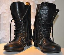 Mens Topman Real Leather Boots Black Size UK8 Eur42 Military Style