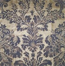 LEE JOFA GILDED LOTUS MEDALLION DAMASK LINEN FABRIC 10 YARDS BLUE GOLD