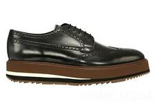 NEW PRADA BRUSHED GRAY LEATHER WING TIP PLATFORM LACE-UP SHOES 9/US 10