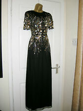 6 PETITE ASOS MAXI DRESS BLACK GOLD EMBELLISHED 20'S 30'S VINTAGE GATSBY