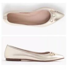 • new J CREW GEMMA METALLIC FLATS SHOES 9.5 GOLD pointy bow trimmed sold out