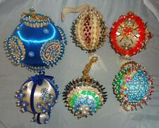 Vtg Lot Handmade Glass Beaded Sequin Styrofoam Satin Christmas Ornaments Kits