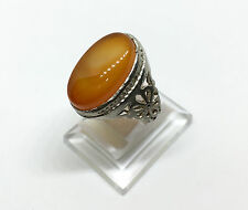 925 Sterling Silver / Original Persian Agate Aqeeq Men Ring, عقيق فارسي