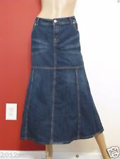 WAH BLUE JEAN FADED DISTRESSED LONG MIDCALF FRINGE DENIM SKIRT SZ 16W