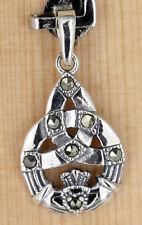 Anhänger Silber Markasit - Keltische Dreifaltigkeit Symbol - Claddagh Für Liebe