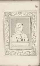 1835 Engraved Portrait Catharine Of Arragon G Cooke /Holbein