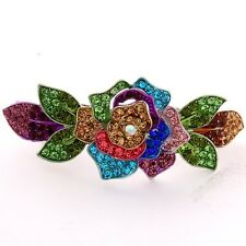 NEW Silver tone rhinestone crystal  multi flower hair barrette clip 14999f ma