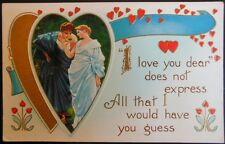 GRECIAN COUPLE HEARTS POEM GOLD - 1915 VINTAGE VALENTINE WHITNEY MADE POSTCARD