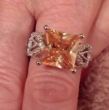 Sterling Silver Filled Princess Cut Honey Topaz & White Topaz Gemstone Ring 8