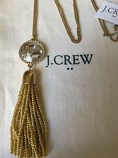 NWT J CREW 100% AUTHENTIC Antique Gold/Crystal BEADED TASSEL PENDANT NECKLACE