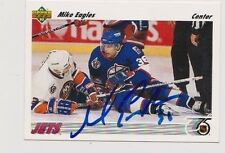 91/92 Upper Deck Mike Eagles Winnipeg Jets Autographed Hockey Card