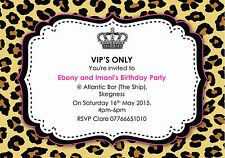 10 Personalised Girls Pink & Leopard Print VIP Birthday Party Invitations