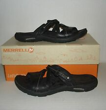 MERRELL Women's SWAY Black Leather Casual Sandals Slides Size 7 US / 38 EUR CUTE
