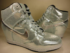 Womens Nike Dunk Ski Hi QS Disco Ball Wedge Silver SZ 7.5 (637991-001)