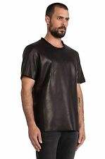 New Black Genuine Leather Basic Tee Shirt Round Neck Sale Mens Size XS -XL