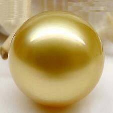 Huge 15mm natural south sea genuine gold round loose pearl undrilled