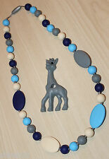 Silicone Nursing Teething Necklace Jewelry Blue Gray Beads & Giraffe Teether