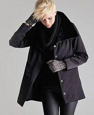 BNWT $428 Eileen Fisher Bonded Fleece BLACK Funnel Neck Jacket Coat PP