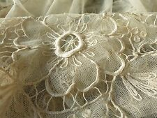 GORGEOUS Antique c1920 TAMBOUR NET LACE COVERLET Bedspread Silky 70x100