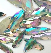 20 pcs x Sew On 10x30 mm Acrylic Rhinestones Clear AB Color Long Teardrop Shape