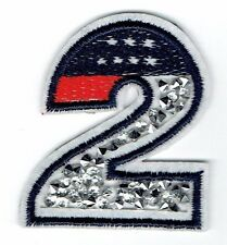 Iron On Embroidered Applique Patch - Crushed Crystals - Number 2 Two