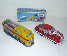LOT SET OF 2 FIRE CAR AND TRAIN ENGINE TIN VEHICLES